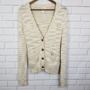 Mossimo Long Sleeve Button Up Cardigan With V-neck